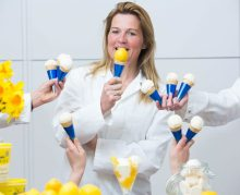 Kirstin Mackie sampling new Sicilian Lemon and Meringue flavour as Food and Drink PR helps boost sales of premium ice cream brands (Photo: Ross Johnston/Newsline Media)