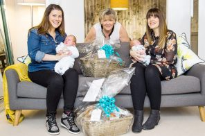 PR Photography shows CALA Homes Sales Advisor, Jenny Thomson with the new mothers Rosie Considine and Louise Inglis and their babies Lachlan and Brodie