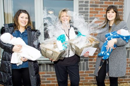 PR Photography shows CALA Homes Sales Advisor, Jenny Thomson with the new mothers, Rosie Considine and Louise Inglis, and their babies Lachlan and Brodie