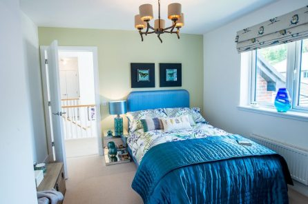 CALA Homes Kinleith Mills Blue Bedroom as shown by PR Photgraphy