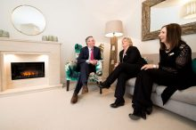 CALA Representatives, Jenny Thomson and Kirsty Summers join Councillor Keith Robson in the living room of one the new show homes at Liberton Braes (PR Photography: Wullie Marr)