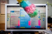 PR Video on screen being dusted with a feather duster