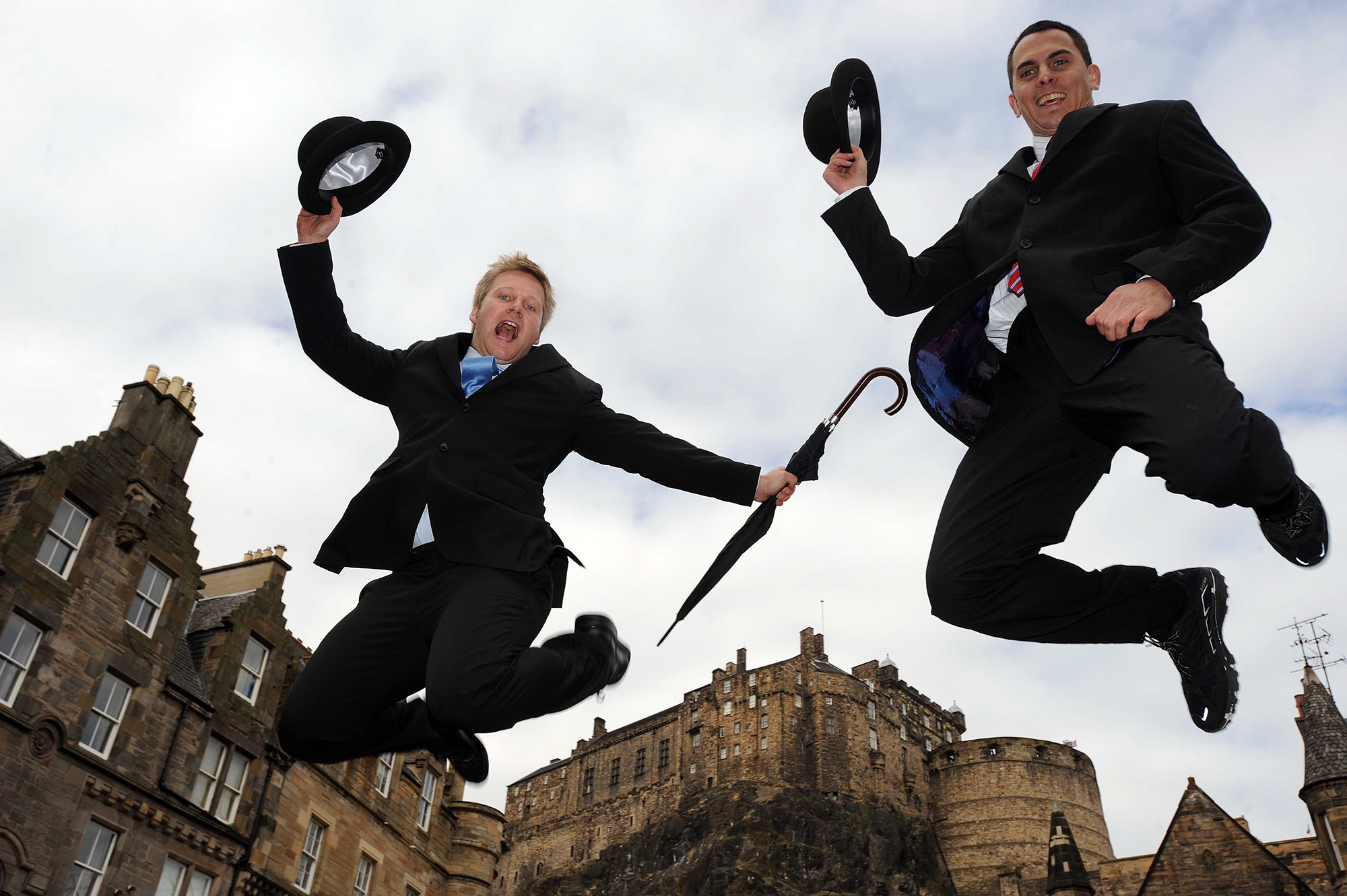 Jumping for joy in Edinburgh