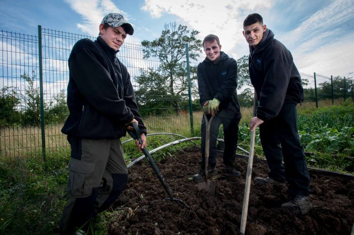 An image of three young men from with Netherthird Community Action Training holding spades as part of a release from a Scottish PR Agency
