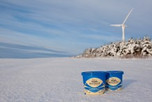 Mackies Tubs of Ice Cream In Winter Snow with Wind Turbines in the Background for Food and Drink PR