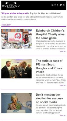 Image of May Version of Holyrood PR Newsletter