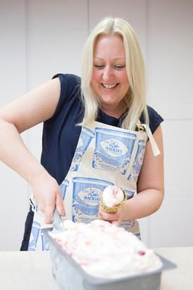 Yvette practices scooping ice cream