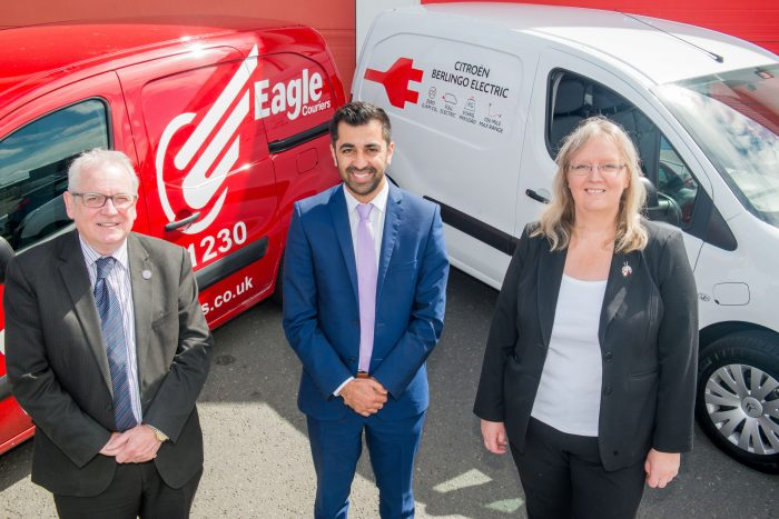 Transport Minister Humza Yousaf meets Eagle Courier directors, Fiona Deas and Jerry Stewart, client of Scottish PR Agency