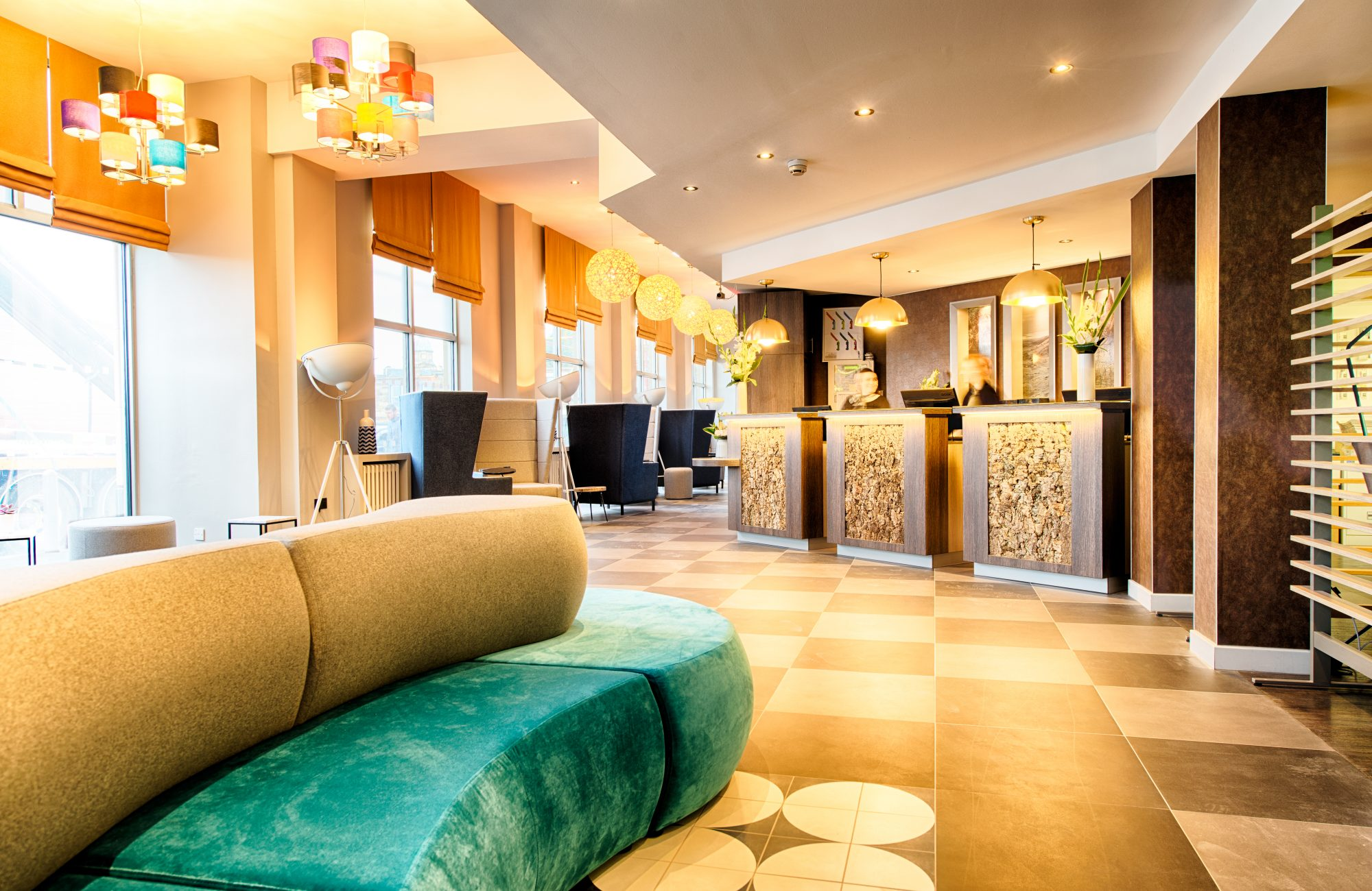 PR photo of the lobby and reception at Leonardo Hotel, Edinburgh