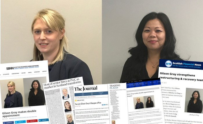Laura Burns and Shirley Li Ting Appointment Coverage from Edinburgh PR Agency, Holyrood PR