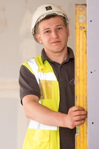 Stephen Brown, one of CALA's Prince's Trust Apprentices posing for PR Photography