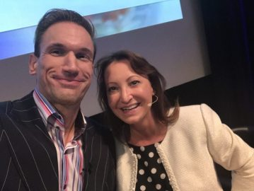 Beauty industry thought leader Jackie Partridge with Dr Christian,