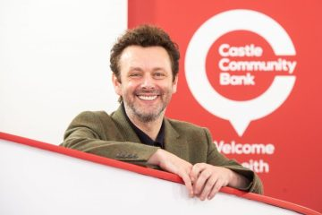 PR Photography of actor Michael Sheen opening Castle Community Bank in Edinburgh