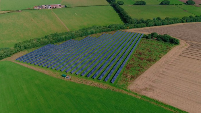 A food and drink PR image of the solar farms at Mackie's Westertoun farm