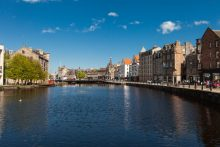 A distinctive setting, this PR photo shows The Shore in Leith, Scotland, bathed in sunshine.