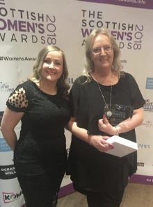 Edinburgh PR photograph of Fiona Deas - Business Woman of the Year at Scottish Women's Awards 2018