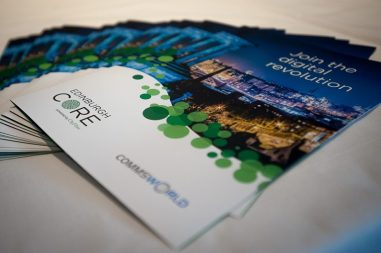 Brochures of CityFibre and Commsworld launch event captured in a tech PR photo