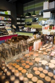 Interior of makeup shop DollyLeo, for a hair and beauty PR campaign