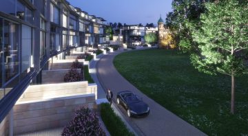 Property PR image of CALA Homes' The Crescent frontage at night