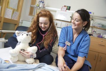 A charity PR photo of Elsie at Edinburgh Children's Hospital shared by Edinburgh PR agency on behalf of ECHC's Big Door Christmas Appeal