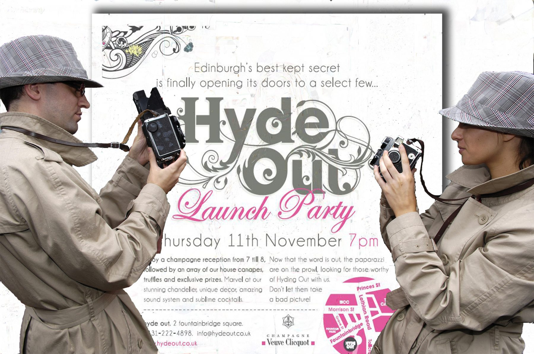 Paparazzi and launch invitation montage for influencer marketing