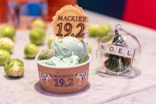 Food and drink PR photo of brussels sprout flavoured ice cream in a tub