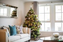 Digital PR photograph of a Christmas tree at an apartment at The Walled Gardens' in St Andrews