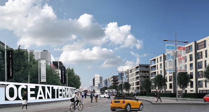 CALA Homes' Waterfront Plaza Leith development in a digiised property PR photo shared by Edinburgh PR agency