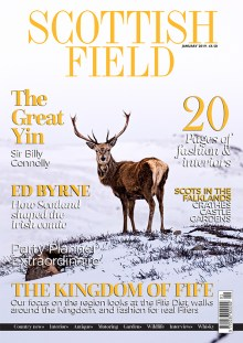 Scottish PR image of the front cover of the Scottish Field Magazine's January 2019 edition featuring a stag on snowy mountains
