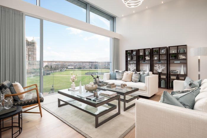 Living room image of CALA Homes The Crescent - a sweeping curve of glass fronted contemporary apartments. Property PR in Edinburgh.