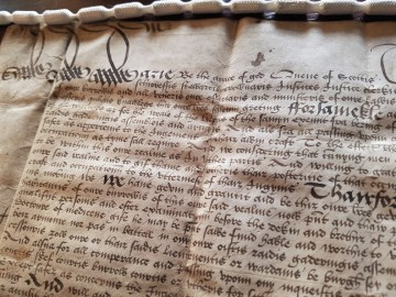 PR Photography image of letters granted by Mary Queen of Scots