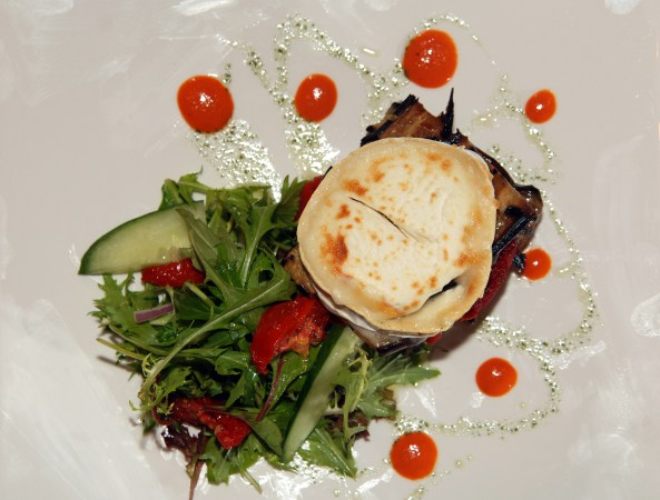 Food and drink PR for Tigerlily - Grilled goats cheese on olive bread with roasted red pepper and onion marmalade
