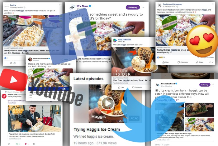 A montage of social media accounts who shared the news of Mackie's haggis ice cream