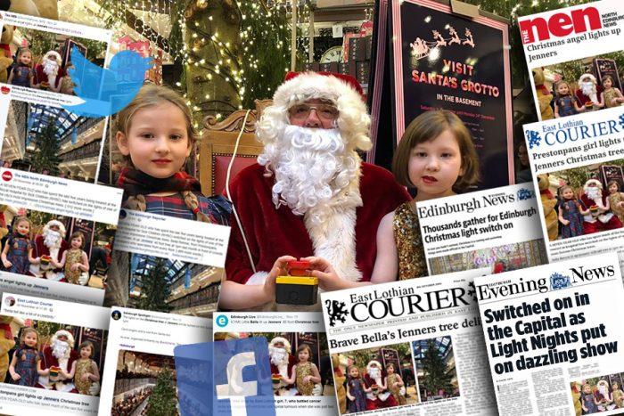 Charity PR agency Holyrood PR spread news of ECHC's Jenners light switch on across the media