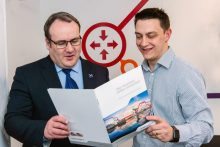 Tech PR photography of Commsworld's Charlie Boisseau and Paul Wheelhouse MSP