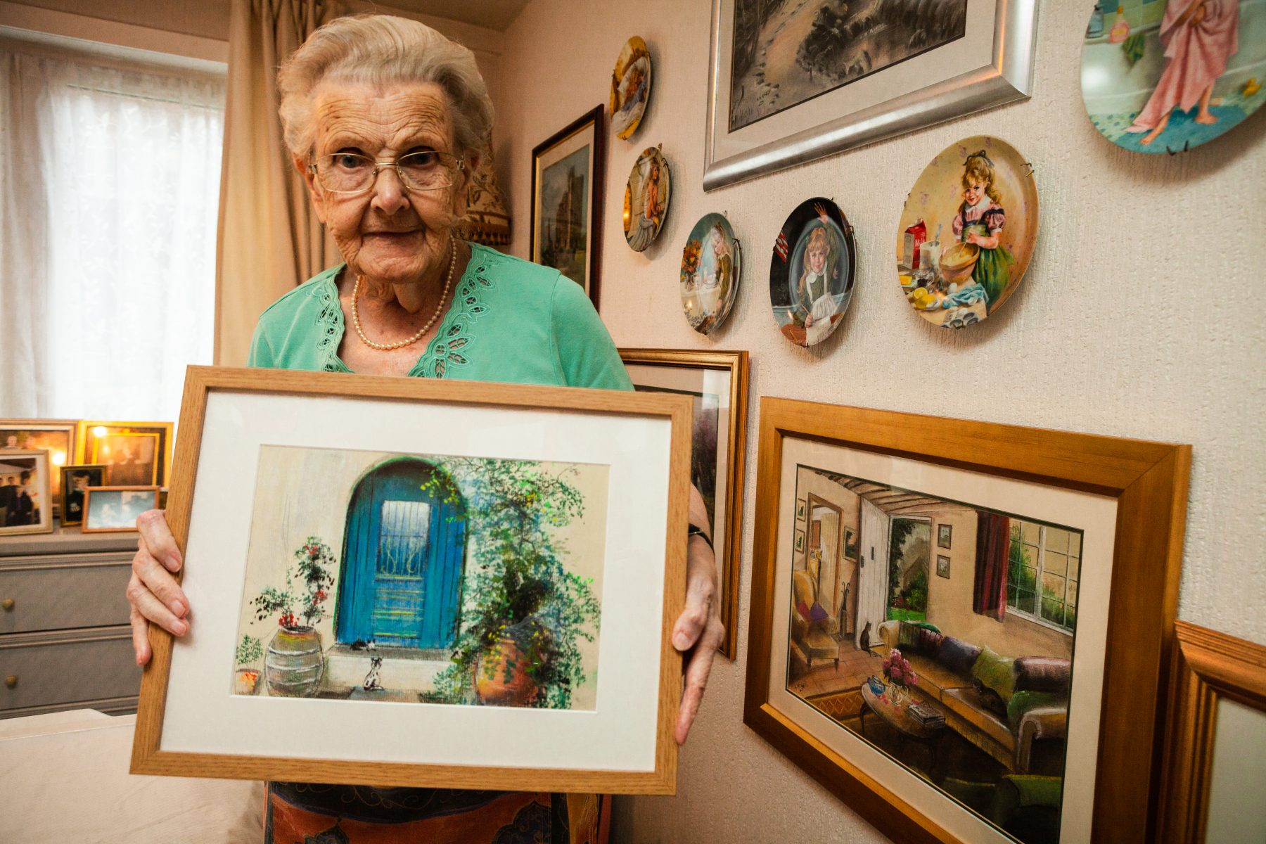Margaret McNeil continues her love of painting at the age of 95 - despite being registered as blind. PR photograpphy by Holyrood PR in Edinburgh, Scotland