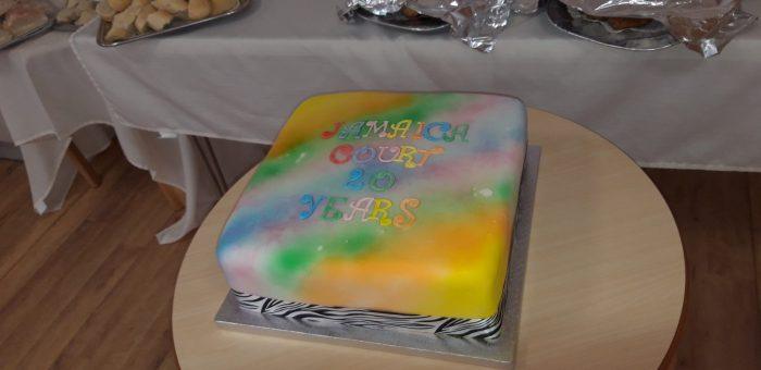 Birthday Cake for retirees celebrating the developments 20th anniversary with Scottish PR