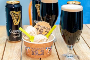 Food and Drink PR photo of Mackie's Guinness sorbet in a tub next to pints and cans of Guinness for St. Patrick's Day