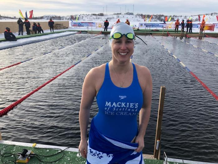 Britain's record-breaking ice swimmer is flying home from Russia with gold medals under her belt after competing in the 2019 World International Ice Swimming Championships.