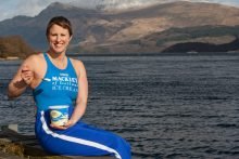 Ice Swimmer Jade Perry, Pictured in Mackie's branded gear with ice cream in a food and drink PR photo
