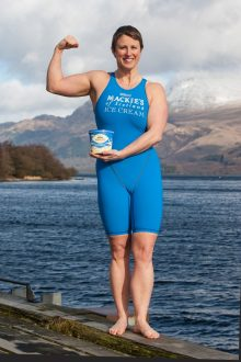 Jade Perry is pictured at Loch Lomond at Luss, Scotland holding a Tub of Mackies Ice Cream Captured by Food and Drink PR Photography.