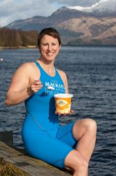 Jade Perry is Captured by Food and Drink PR Photography at Loch Lomond at Luss, Scotland eating of Mackie's Ice Cream