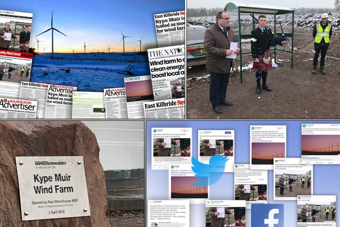 Coverage acheived for Banks renewables second wind farm in South Lanarkshire is shown in montage