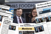A montage of media coverage for a food and drink PR media story on Mackie's contract win with M&S