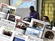 Image showing RCSEd training surgeons in Rwanda with coverage achieved for the story overlayed. Money raised by the RCSEd's commercial arm, Surgeons Quarter, has been put towards the initiative to combat Rwanda's surgical crisis.