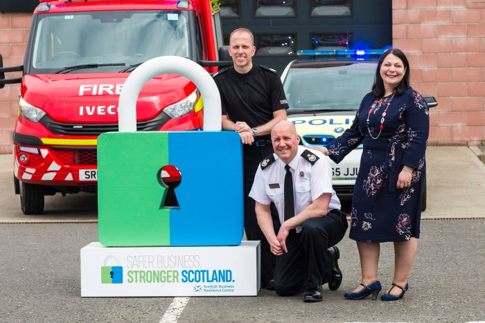PR Scotland photograph for the launch of Safer Business, Stronger Scotland campaign by SBRC