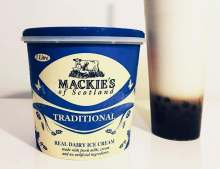 Food and Drink PR photo of Mackie's ice cream Traditional tub sat next to a Bubble Tea.