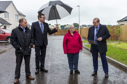 Hazel Farquhar and Graeme Dey MSP are pictured in a PR photograph at the launch of a new development in Arbroath