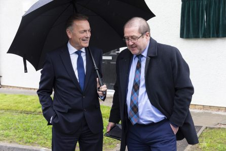 Graeme Dey MSP with Jason MacGilp Group Chief Executive Cairn Housing Group at Cairn Housing Associaion in a PR photograph