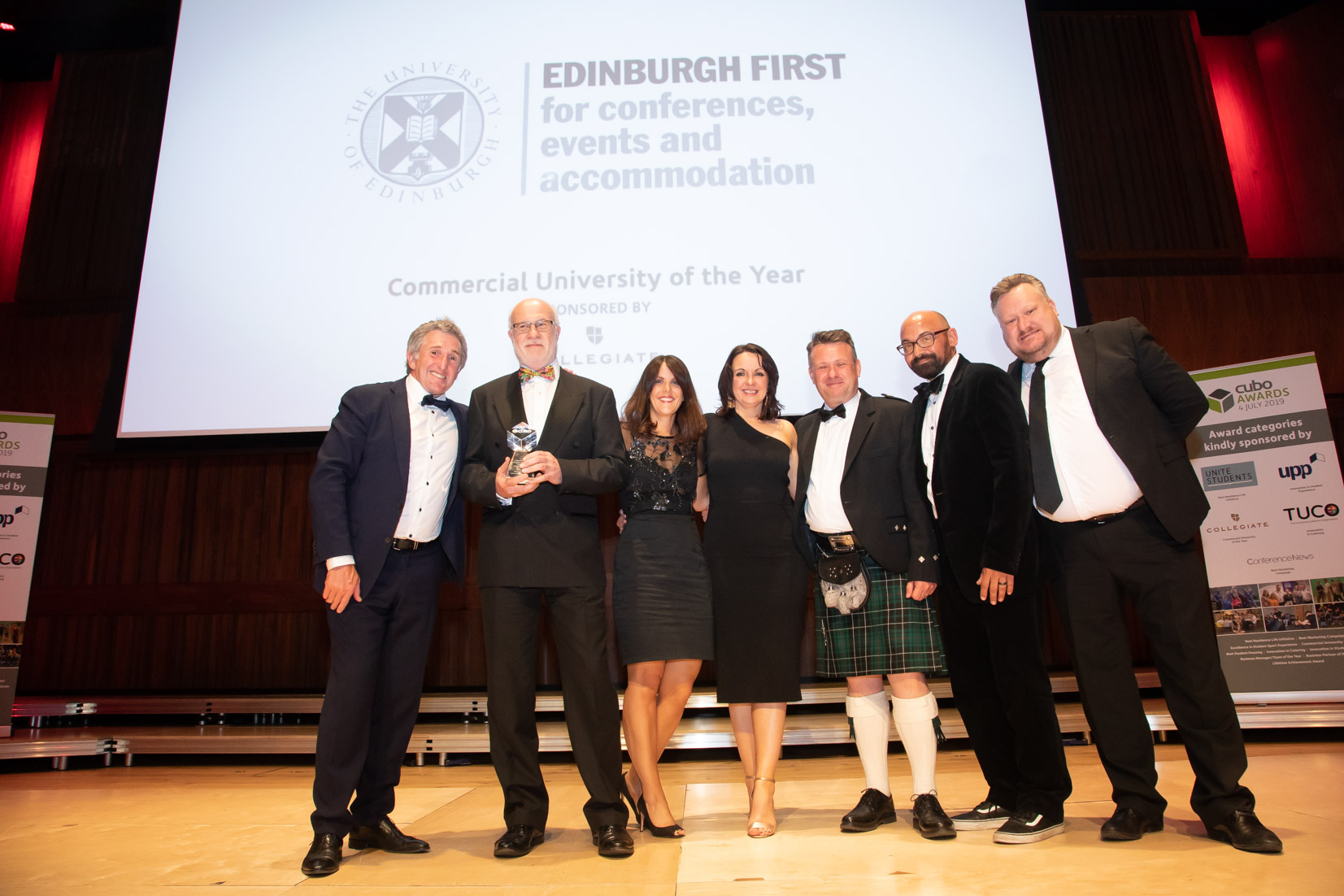 A team from Edinburgh University Accommodation Catering and Events on stage at the recent CUBO awards | Hospitality PR